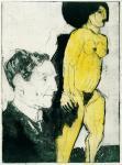 Max Sauerland med treskulptur av Ernst Ludvig Kirchner